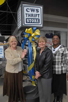 Kathryn Lamm, Vivian Hotle, and Sandra Waverly helped the Thrift Store celebrate their Grand Re-Opening